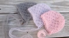 Newborn baby Girl Lace Mohair Bonnet/ Unique by MyLittleKnits