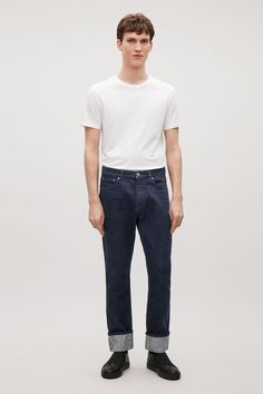 COS image 1 of Straight selvedge jeans in Dark Blue
