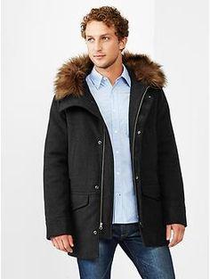 Wool fur trim jacket