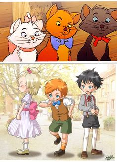 This is one of my favorite Disney as anime photos Disney's The Aristocats - Marie, Toulouse, and Berlioz as humans - and in anime form as well! Disney Pixar, Disney Animation, Disney Magic, Walt Disney, Disney Amor, Heros Disney, Disney Memes, Disney Fan Art, Disney Cartoons