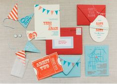 Red and blue invitations