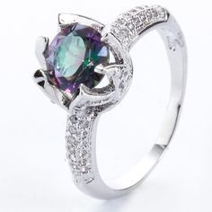 925 Silver Women White Gold Zircon Filled Womens Engagement Wedding Ring SZ6-9