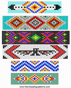 Free Loom Beading pattern - 6 simple barrettes