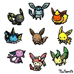 Chibi Pokemon Eevee | Chibi Eevee-lution Pokemon. So cute!