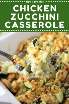 Feb 2019 - Chicken Zucchini Casserole is quick, easy, comforting, and so deliciously satisfying - and no canned soup in sight! A great weeknight dinner all year long. Stuffing Casserole, Casserole Dishes, Casserole Recipes, Zuchinni Recipes, Chicken Zucchini Casserole, Healthy Chicken Dinner, Cooking Recipes, Healthy Recipes, Food Dishes