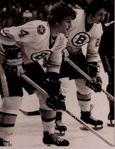 Bobby Orr ( and Brad Park ( . I miss hockey. Boston Bruins Hockey, Chicago Blackhawks, Ice Hockey Teams, Hockey Stuff, Hockey Mom, Nhl Wallpaper, Hockey Pictures, Bobby Orr, Bae