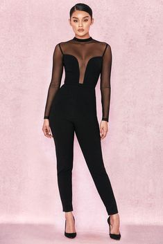 1de6fbf146e House of CB  Wilhelmina  Black Crepe Mesh Jumpsuit XS 6   8 MA 377