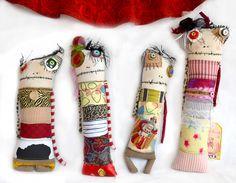 Group shot of monster dolls, circa 2011  Monster rag dolls by Diane Slagle.