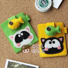 依格瓦\【材料包】小馋猫情侣卡套一对 不织布DIY\满108元包邮-淘宝网