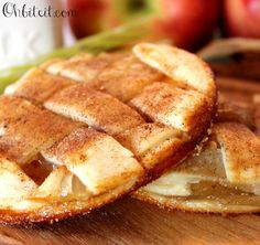 Apple Pie-like Cookies are made of real Pie Crust layered with sticky Caramel, and a slathering of Apple Pie Filling, topped with a flaky and adorable Cinnamon & Nutmeg lattice crust