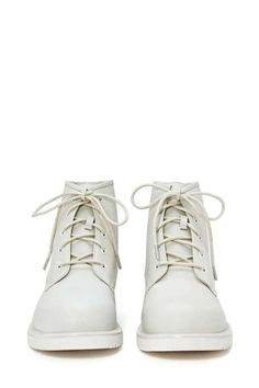 Chalk White Lace-up Ankle #Boot by Nasty Gal.