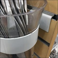 The heavy-duty construction of these Tableware Slatwall Ring-Hook Details would allow display of both simple silverware, and heavier serving utensils. Serving Utensils, Cooking Utensils, Retail Fixtures, Slat Wall, Knife Block, Storage Organization, Hooks, Channel, Detail