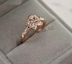 Anillo de Aleación de Zinc, Flor, chapado en oro de rosa real, con diamantes de imitación de Checo, l