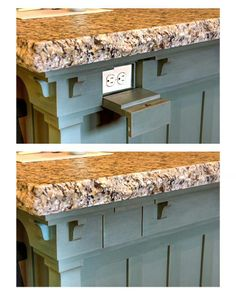 Keep electrical outlets out of sight on your kitchen island with a hidden…
