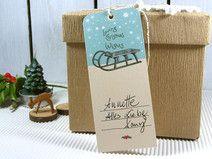 Geschenkanhänger Weihnachten Sterne Schlitten
