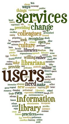 A tag cloud (word cloud, or weighted list in visual design) is a visual representation for text data, typically used to depict keyword metadata (tags) on websites, or to visualize free form text. // Tag cloud: Libraries.