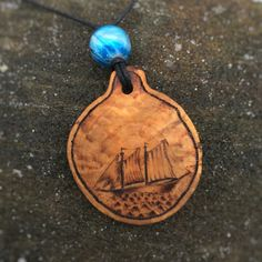 Seascape Sailboat Pendant, wooden necklace, wood pendant, pyrography pendant, wood burned necklace, wood jewelry, wooden pendant by IonaWoodArt on Etsy
