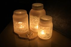 Lace Candle Holders - save jars of various sizes, wrap with lace trim, then spray with white or frost paint.  Remove lace and add a candle.