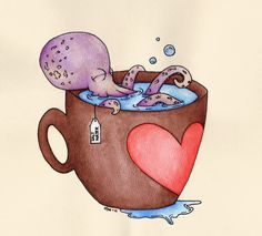 Bath Time by ~Chellzasaur on deviantART Octopus Pictures, Octopus Tattoo Design, Sea Life Art, Octopus Art, Painting Lessons, Traditional Art, Sculpture, Collage Art, Octopus