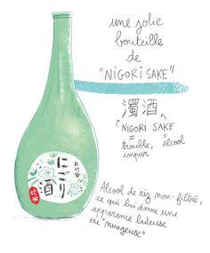 japon, nigori, sake, illustration