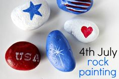 4th of July Rock Painted Rocks are easy when you use a stencil for the designs