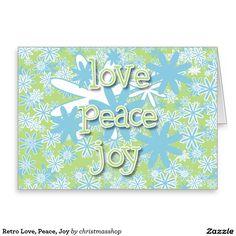 Retro Love, Peace, Joy Greeting Card