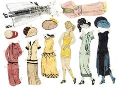 Paper Doll Flapper Art Deco Hand Drawn & Painted