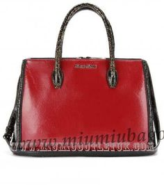 Cheap Miu Miu Two-Tone Cracked Leather Tote Outlet Sale in 2013/2014