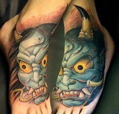 Colorful Demon Tattoo On Feet By Tim Senecal Oni ~ Foot Tattoo Ideas Oni Tattoo, Demon Tattoo, Skull Tattoos, Arm Tattoos, Body Art Tattoos, Tribal Tattoos, Sleeve Tattoos, Tatoos, Creative Tattoos