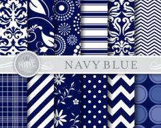 NAVY BLUE Digital Paper Pack SEAMLESS Pattern Prints, Instant Download, 12 x 12 Color Series Patterns Backgrounds Scrapbook Print