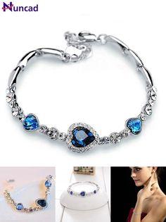 [Visit to Buy] Nuncad One Piece Women Girls Ocean Blue Sliver Plated Crystal Heart Bracelet Bracciali Donna Gift Jewelry Bileklik Wholesale #Advertisement