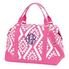 Items similar to Monogram Weekender Bag ~ Personalized Weekender Bag ~ Monogrammed Luggage ~ Hot Pink Personalized Overnight Bag ~ Aztec Patterned Weekender on Etsy Duffle Bag Travel, Weekender Tote, Travel Bags, Carry On Tote, Monogram Tote, Gym Bag, Shoulder Bag, Purses, Weekend Bags