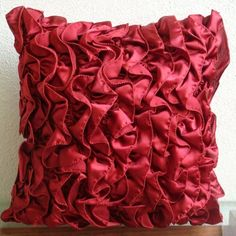 Vintage Rubys - Pillow Sham Covers - 24x24 Inches Satin Pillow Sham Cover with Ruby Satin Ruffles