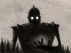 iron giant art with charcoal