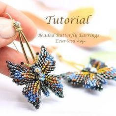 Earrings Mosaic beading pattern | Etsy Seed Bead Earrings, Beaded Earrings, Beaded Jewelry, Ring Earrings, Seed Beads, Beaded Bead, Wrap Bracelet Tutorial, Earring Tutorial, Swarovski