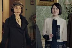Lady Mary looks very smart in a navy jacket and hat to rush Anna off to London to see the OB/GYN. She also pulls out some colorblocking again, not the first time she's done so this season. Will it be the last? Stay tuned. (Screengrabs: PBS/Masterpiece).