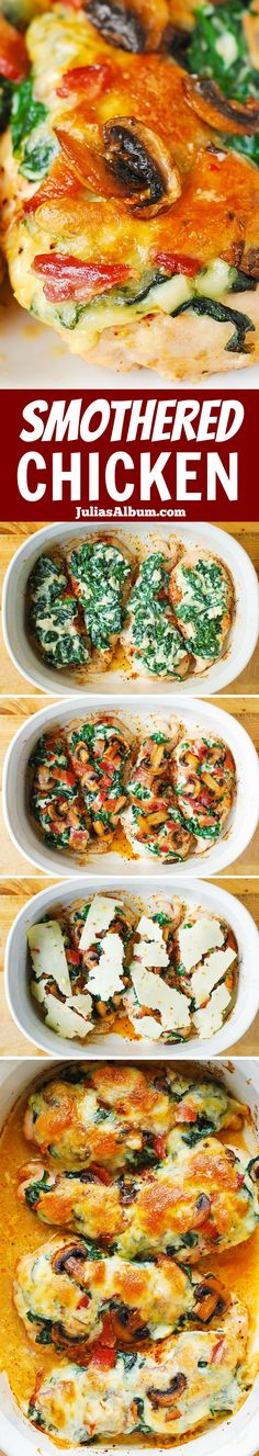 Smothered Baked Chicken with Creamed Spinach, Bacon, Mushrooms – a delicious way to cook boneless, skinless chicken breasts!(Chicken Recipes To Try) Turkey Recipes, Chicken Recipes, Dinner Recipes, Shrimp Recipes, Dinner Ideas, Dessert Recipes, Smothered Chicken, Baked Chicken, Keto Chicken