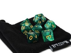Emerald Marble Dice Collection - 7 Piece Set