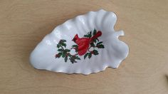 LEFTON Christmas Fine China Dish Handpainted Holly and Red Cardinal Decorative Dish Holiday Decor Candy Dish by RandomAmazing on Etsy