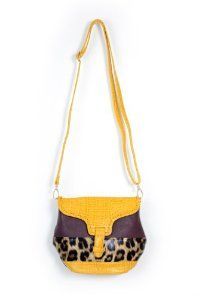 Meow Leopard Purse in Yellow