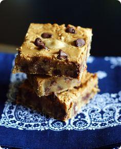 Peanut Butter Swirl Chocolate Chip Blondies @bridget edwards That she made from my Cookbook - Peanut Butter Comfort!