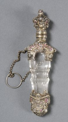 Continental Silver-gilt and Stone-mounted Colorless Glass Perfume Flask, late 19th century