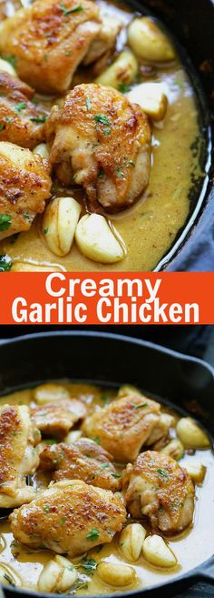 creamy garlic chicken Creamy Garlic Chicken crazy delicious skillet chicken with creamy garlic sauce. Perfect with pasta and dinner is ready in 20 mins. Creamy Garlic Sauce, Creamy Garlic Chicken, Chicken Garlic Sauce, Boneless Chicken, Garlic Bread, Fried Chicken, Turkey Recipes, Dinner Recipes, Good Food