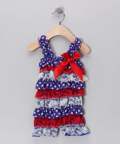 Take+a+look+at+the+Blue+&+Red+Star+Lace+Ruffle+Romper+-+Infant+&+Toddler+on+#zulily+today!
