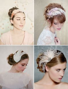 Feather headpieces by Mignonne Handmande, Lo Boheme, Glided Shadows + Twigs and Honey - Head over heels for: Feathers, via greenweddingshoes