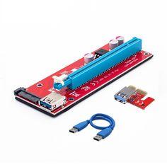 10pcs New Red VER007S PCI Express Riser Card 1x to 16x PCI-E Riser extender 60cm USB 3.0 Cable 15Pin SATA for BTC Mining rig