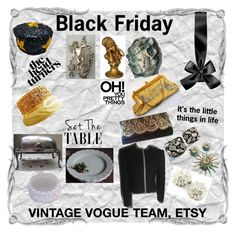 Black Friday by lunasvintagedesigns on Polyvore featuring Sarah Coventry, MACBETH, WALL, Whiting & Davis and vintage