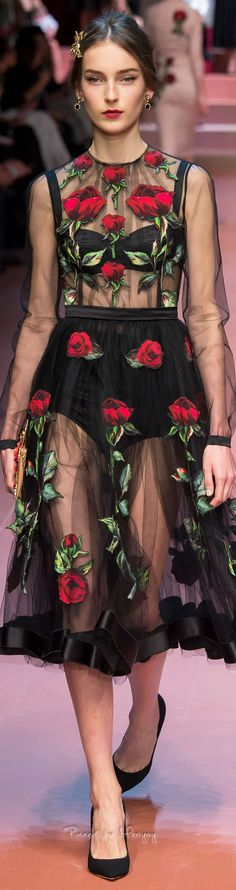 Dolce & Gabbana.Fall 2015. The fabric does all the work in this sheer dress.