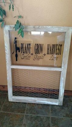 Old window with vinyl lettering.