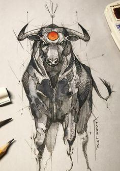 Bull Kunst Tattoos, Tattoo Drawings, Body Art Tattoos, Art Drawings, Ox Tattoo, Taurus Tattoos, Animal Sketches, Animal Drawings, Art Sketches